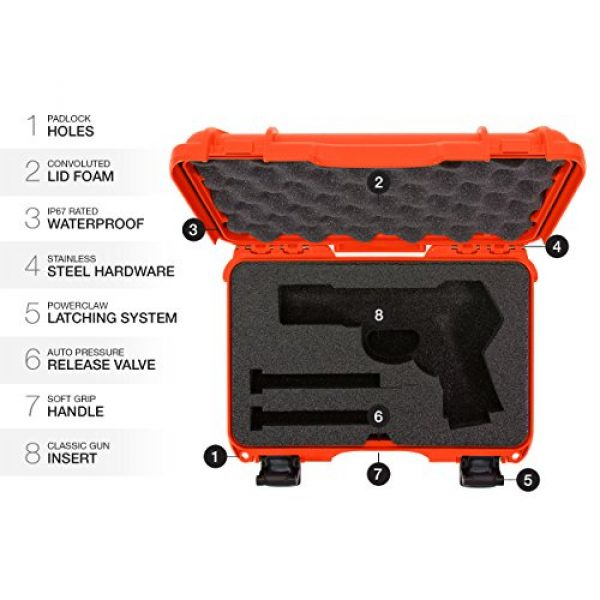 Nanuk Pistol Case 6 Nanuk 909 Waterproof Professional Glock Pistol/Gun Case, Military Approved with Custom Insert
