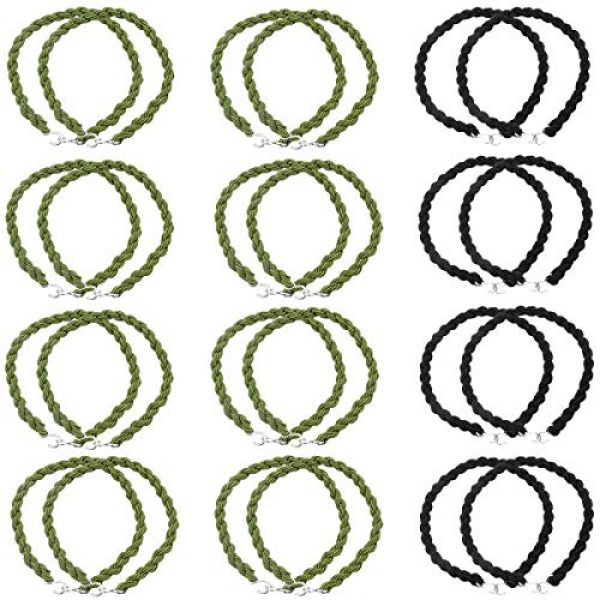 SelfTek Combat Boot Garters 1 24 Pieces Elastic Boot Straps Military Boot Bands Blousing Garters with Metal Hooks for Navy Army Air Force Black and Green