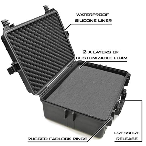 """CASEMATIX Pistol Case 4 CASEMATIX 23"""" Customizable 7 Pistol Multiple Pistol Case - Waterproof & Shockproof Hard Gun Cases for Pistols, Magazines and Accessories - Multi Gun Case for Pistols with Two Layers of 2"""" Thick Foam"""