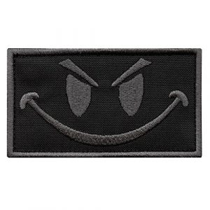 LEGEEON  1 LEGEEON Subdued Smiley Evil Angry ACU Morale Tactical Military Milspec Tactical ISAF SWAT Sew Iron on Patch