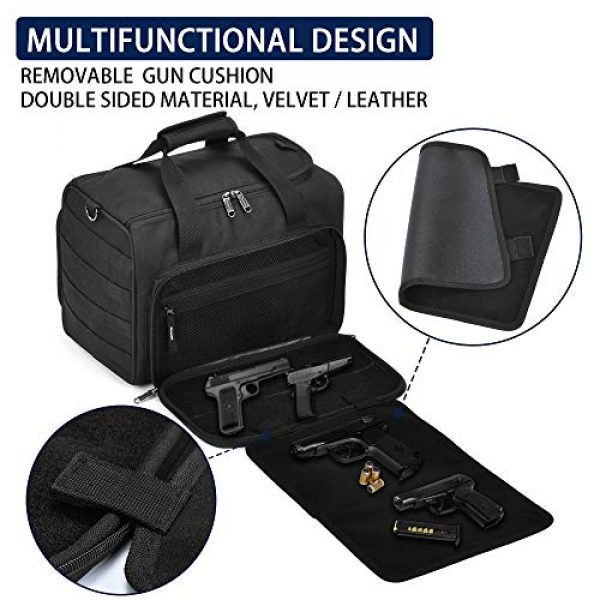 Partage Pistol Case 2 Partage Gun Range Bag Deluxe Pistol Shooting Range Duffle Bags with Velvet Cushion -Black