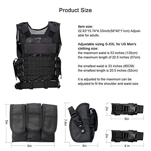 WWahuayuan Airsoft Tactical Vest 5 WWahuayuan Adjustable Tactical Vest Trainning Tactical Airsoft Paintball Ultralight Breathable Combat Training Vest for Adults 600D Encryption Polyester-VT-1063