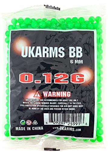 UKARMS Airsoft BB 4 UKArms BBTac 1000 Bag .12 Gram 6mm BBs For Airsoft Guns - 1 Bag of 1000 BBs