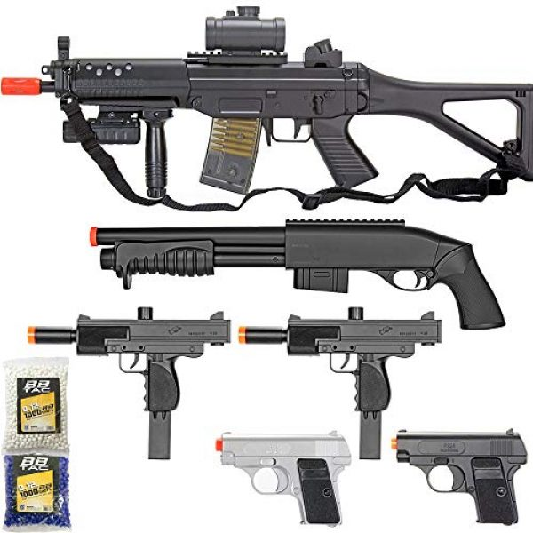 BBTac Airsoft Rifle 1 BBTac Airsoft Gun Package - Black Ops - Collection of Airsoft Guns - Powerful Spring Rifle, Shotgun, Two SMG, Mini Pistols and BB Pellets, Great for Starter Pack Game Play