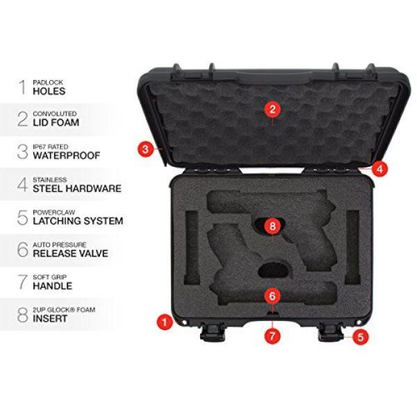 Nanuk Pistol Case 6 Nanuk 910 2UP Waterproof Hard Case w/Custom Foam Insert for Glock Pistols - Black
