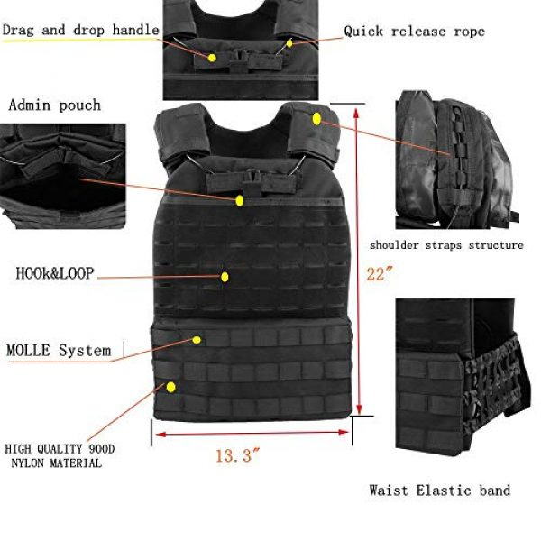 JFFCE Airsoft Tactical Vest 4 JFFCE Tactical Vest Fully Adjustable for Shooting Hunting Outdoor Activities