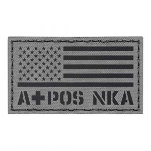 Tactical Freaky Airsoft Morale Patch 1 IR Wolf Gray USA Flag APOS A+ Blood Type NKA NKDA Infrared Tactical Morale Fastener Patch