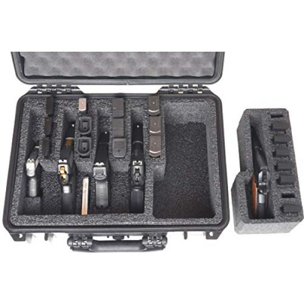 Case Club Pistol Case 3 Case Club 5 Pistol and 20 Magazine Pre-Cut Heavy Duty Waterproof Case with Included Silica Gel Canister to Help Prevent Gun Rust (Upgraded Gen-2)