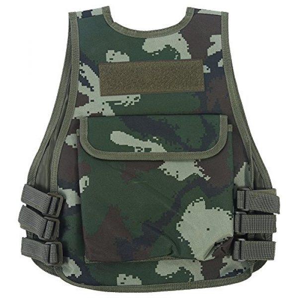 Fishlor Airsoft Tactical Vest 2 Fishlor Adjustable Camouflage Vest, Children Camouflage V-Neckline Vest with Multi Pocket for Outdoor Hunting Game(Jungle Camouflage L)