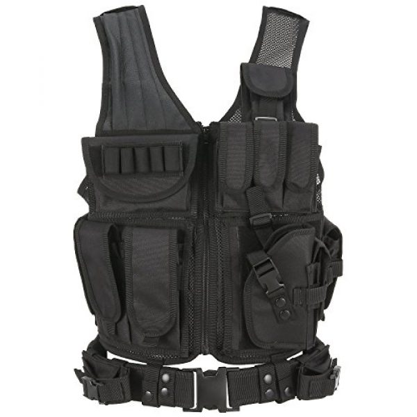 Idea- Airsoft Tactical Vest 1 Tactical Military SWAT - Adjustable Adult SWAT for Airsoft Paintball Combat Army Shooting Hunting Outdoor Molle Police Vest With Pistol Holster