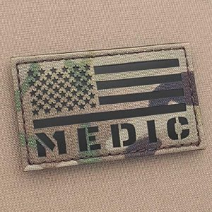 Tactical Freaky Airsoft Morale Patch 1 IR Multicam Medic EMS America Flag OCP 2x3.5 MED Paramedic Tactical Fastener Patch