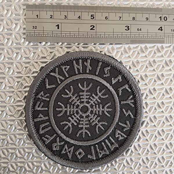 LEGEEON Airsoft Morale Patch 3 LEGEEON Subdued Blackout Aegishjalmur Helm of Awe Viking Norse Runic Heathen Morale Tactical Touch Fastener Patch