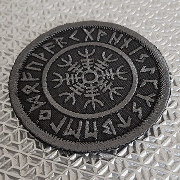LEGEEON Airsoft Morale Patch 2 LEGEEON Subdued Blackout Aegishjalmur Helm of Awe Viking Norse Runic Heathen Morale Tactical Touch Fastener Patch