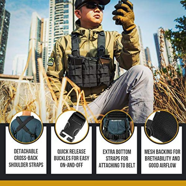 OneTigris Airsoft Tactical Vest 4 OneTigris ROC Chest Rig Tactical Modular Panel with Removable X Shoulder Strap and Mesh Backing