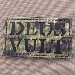 Tactical Freaky Airsoft Morale Patch 1 IR Multicam Deus Vult God Wills It OCP 2x3.5 Templar Crusader Nazarene Morale Tactical Fastener Patch
