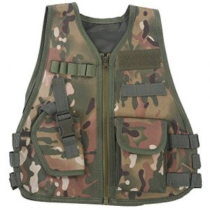 Fishlor Airsoft Tactical Vest 1 Fishlor Adjustable Camouflage Vest, Children Camouflage V-Neckline Vest with Multi Pocket for Outdoor Hunting Game(CP Camouflage L)