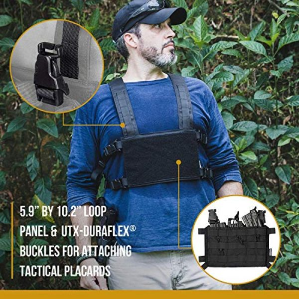 OneTigris Airsoft Tactical Vest 5 OneTigris Chest Rig Panel & Triple Mag Pouch with Tool Pouch (Black)