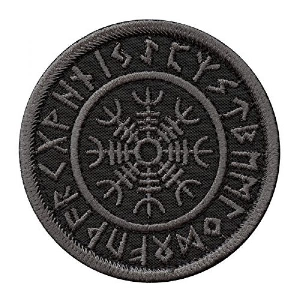 LEGEEON Airsoft Morale Patch 1 LEGEEON Subdued Blackout Aegishjalmur Helm of Awe Viking Norse Runic Heathen Morale Tactical Touch Fastener Patch