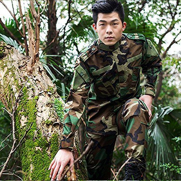 H World Shopping Tactical Shirt 5 H World Shopping Military Tactical Mens Hunting Combat BDU Uniform Suit Shirt & Pants with Belt Woodland Camo