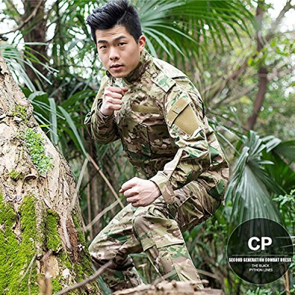 H World Shopping Tactical Shirt 5 Men Tactical BDU Combat Uniform Jacket Shirt & Pants Suit for Army Military Airsoft Paintball Hunting Shooting War Game Multicam MC