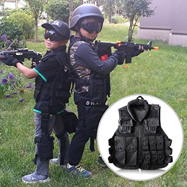 Yosoo Airsoft Tactical Vest 5 Yosoo Kids Tactical Vest, 600D Nylon Children Tactical Molle Vest Protective Jacket Vest Outdoor Military Army Combat Trainning Games Vest for Hunting Shooting Play