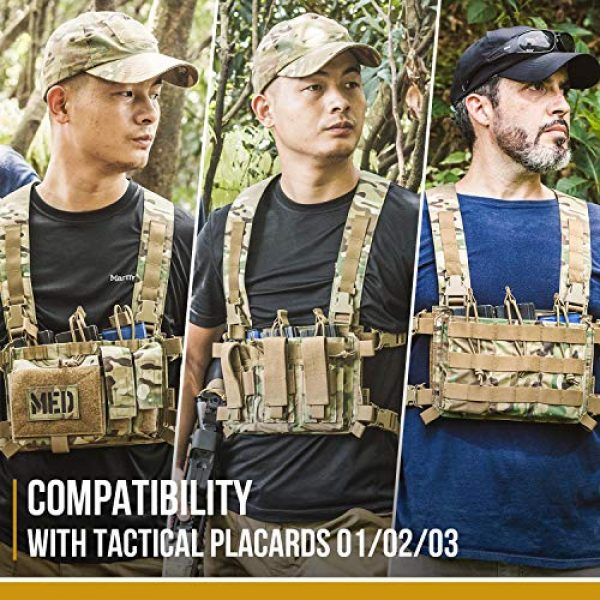 OneTigris Airsoft Tactical Vest 6 OneTigris Chest Rig Tactical Panel Placard Adapter (Multicam)
