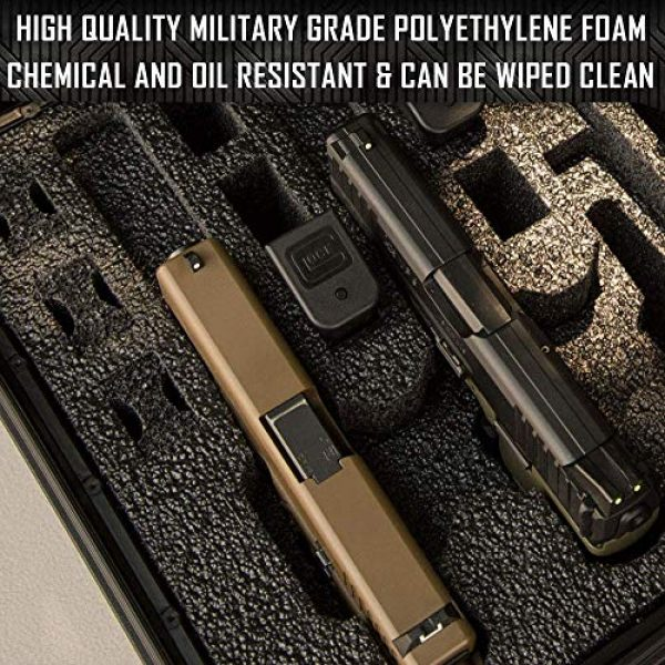 MY CASE BUILDER Pistol Case 5 Pistol & Magazine Storage Foam Insert for Apache 4800 Case - 2 Piece Set - Pre-Cut Military Grade Polyethylene Base and Protective Lid Liner (Case Not Included)