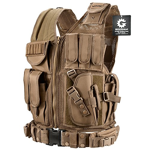 Loaded Gear Airsoft Tactical Vest 1 Loaded Gear New Tactical Vest Light Outdoor Training Vest Adjustable for Adults (Tan)