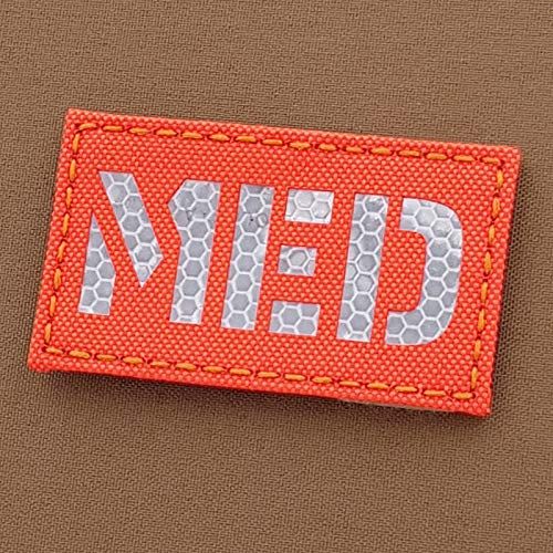 Tactical Freaky Airsoft Morale Patch 1 Blaze Orange Solas MED 2x3.5 Fluo Hi Viz Medical EMS Honeycomb SAR Search Rescue Tactical Touch Fastener Patch