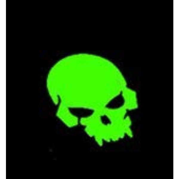 Tactical PVC Patch Airsoft Morale Patch 2 Pirate Skull Glow-in-Dark Morale Military Patch 3D PVC Rubber Tactical Rubber Hook Patch (Green)