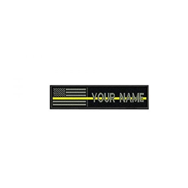 DREAM 002 Airsoft Morale Patch 1 Custom Name Text American Flag Yellow Line Morale Patch Hook & Loop Backing (Yellow line 5x1 inch)
