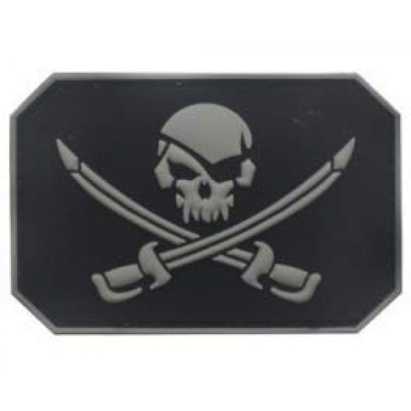 Tactical PVC Patch Airsoft Morale Patch 1 Pirate Skull with Double Swords PVC Military Tactical Morale Patch Badges Emblem Applique Hook Patches for Clothes Backpack Accessories