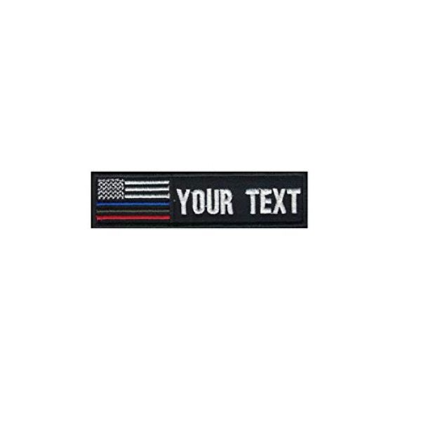 DREAM ARMY Airsoft Morale Patch 1 Custom Name Text Flag American USA Flag Blue Line Red Line Green Line Morale Patch Hook Backing 4x1 inch (Blue line red line Green line)