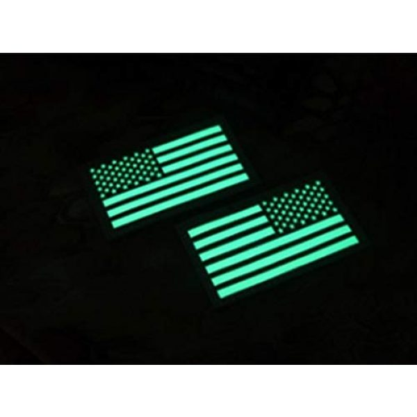Hannah Fit Airsoft Morale Patch 3 2x3.5 Black White Glow in Dark US USA American Flag Tactical Patches Forward and Reversed (1 Left + 1 Right)