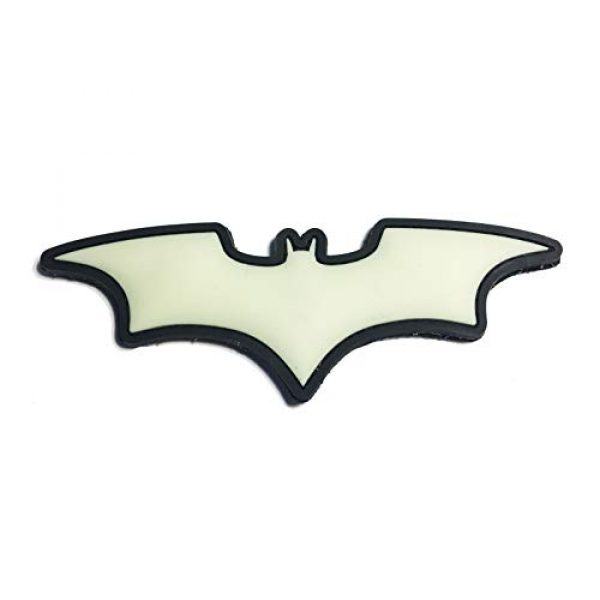 Empire Tactical USA Airsoft Morale Patch 1 The Batman Wings - Glow in The Dark - Comic Dark Knight Symbol PVC Morale Patch