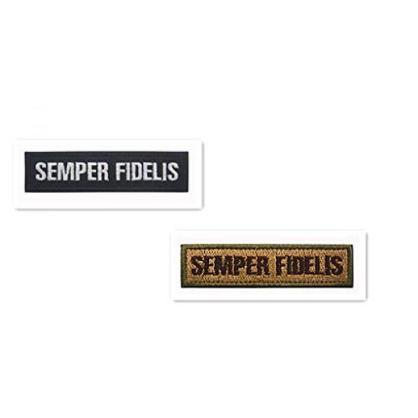 Embroidery Patch Airsoft Morale Patch 1 2 Pieces Semper Fidelis US Military Hook Loop Tactics Morale Embroidered Patch (color3)