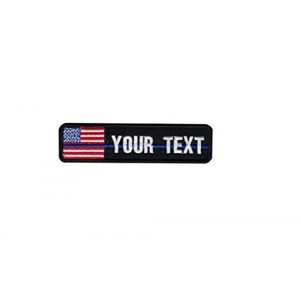 DREAM ARMY Airsoft Morale Patch 1 Custom Name Text Flag American USA Flag Color Blue Line Morale Patch Hook Backing (4x1 inch)