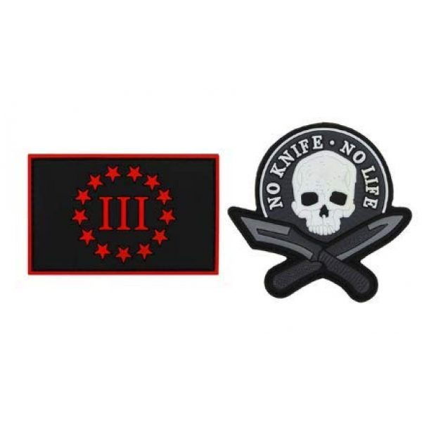 Tactical PVC Patch Airsoft Morale Patch 1 2pcs NO Knife NO Life Skull PVC Military Tactical Morale Patch Badges Emblem Applique Hook Patches for Clothes Backpack Accessories