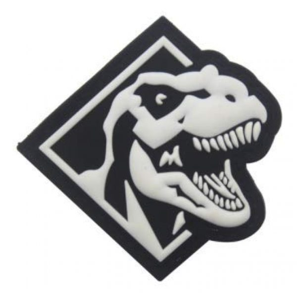 Tactical PVC Patch Airsoft Morale Patch 1 Glow in Dark T-Rex King Dinosaurs Triceratops Dinosaurs Morale Military Patch 3D PVC Rubber Tactical Rubber Hook Patch (Black)