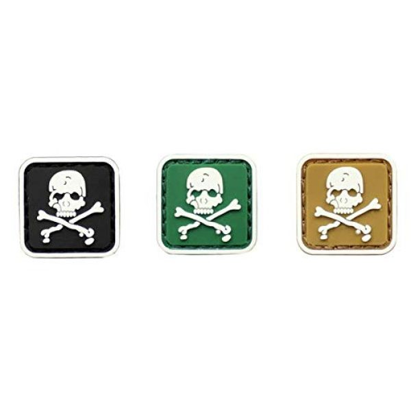 Tactical PVC Patch Airsoft Morale Patch 1 3pcs Mini Size Skull & Crossbones Glowing in Dark PVC Military Tactical Morale Patch Badges Emblem Applique Hook Patches for Clothes Backpack Accessories