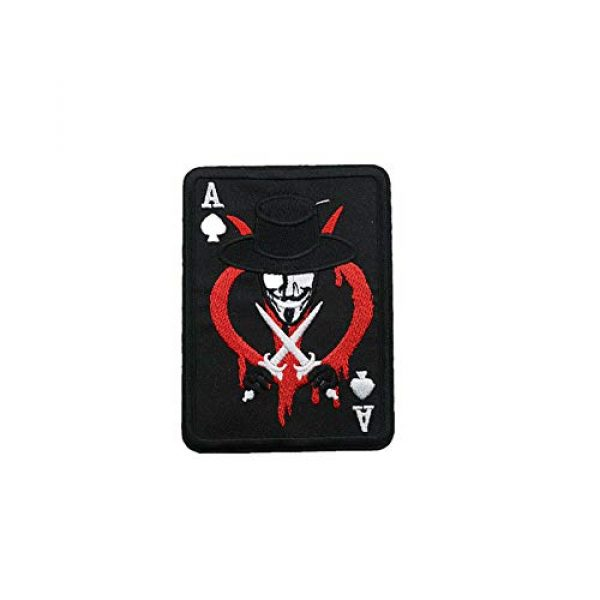 Aysekone Airsoft Morale Patch 2 Aysekone 4 Pack Embroidery Badges Card Poker Ace of Spades Patches Army Combat Tactical Military Morale Badge Hooks and Loop Band Badges
