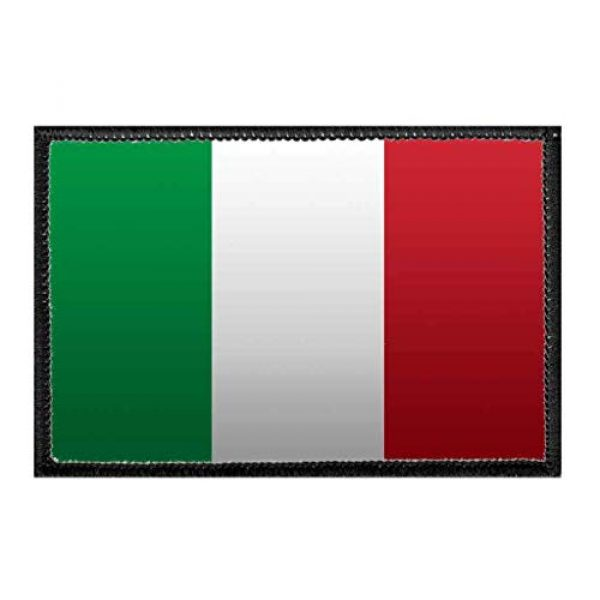 P PULLPATCH Airsoft Morale Patch 1 Italy Flag - Color   Hook and Loop Attach for Hats, Jeans, Vest, Coat   2x3 in   by Pull Patch