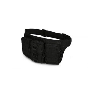 Jipemtra Tactical Pouch 1 Jipemtra Tactical Pouch Waist Pack Fanny Pack Military Hip Belt Bag Fanny Packs Water Resistant Waist Bag Pouch Molle with Detachable Water Bottle Holder (Black #2)