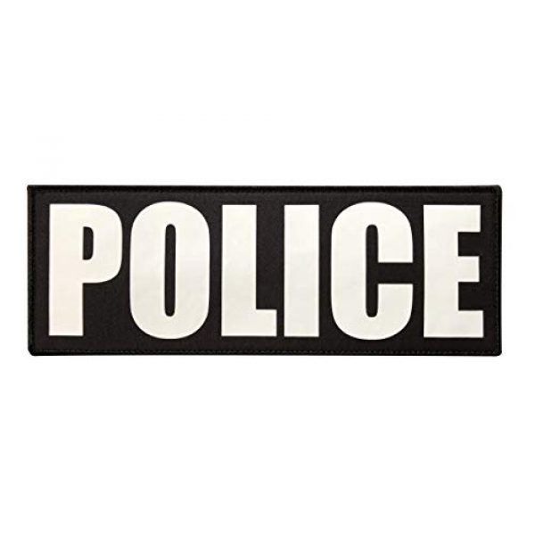 TIMTAC Airsoft Morale Patch 1 TIMTAC Large Police Patch with Hook and Loop (White, 11x4 inch)