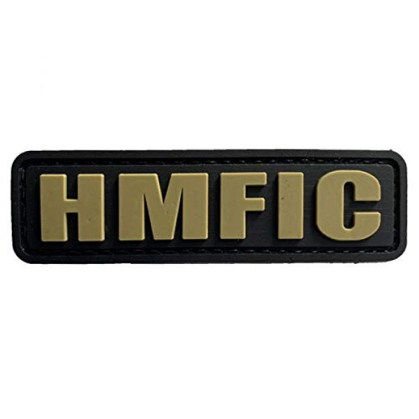 uuKen Airsoft Morale Patch 1 HMFIC Patch Hook Fastener Backing Head Mother Fker in Charge 3.15''x1'' PVC Patch (Black and Tan)