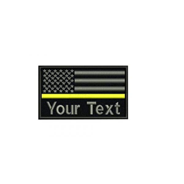 DREAM ARMY Airsoft Morale Patch 1 Custom Name Text American Flag Thin Blue Line Red Line Green Line White Yellow Line Morale Patch Hook & Loop Backing 9x5.5cm (Yellow Line)