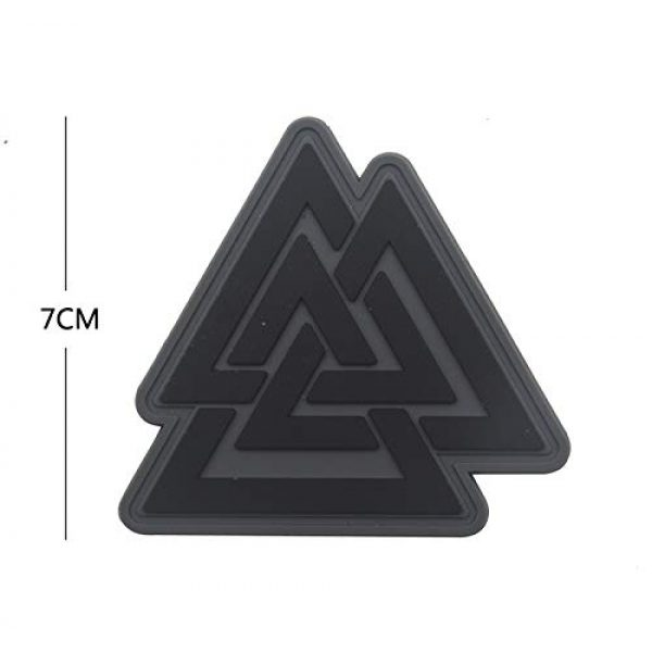 Zhikang68 Airsoft Morale Patch 2 Valknut Triangle Symbol Viking Norse Rune Morale Tactical Military Army Embroidered Sew on Tags Operator Patches with Hook and Loop Fasteners Backing (PVC)