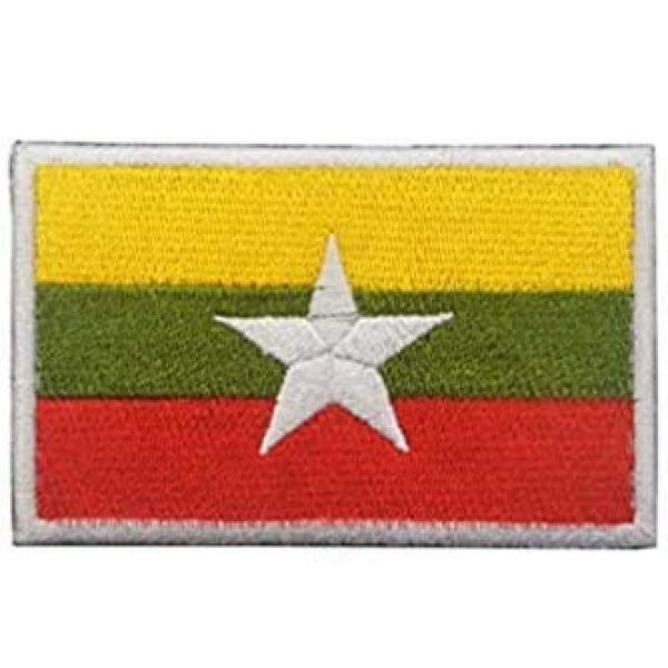 Tactical Embroidery Patch Airsoft Morale Patch 1 Myanmar Flag Embroidery Patch Military Tactical Morale Patch Badges Emblem Applique Hook Patches for Clothes Backpack Accessories