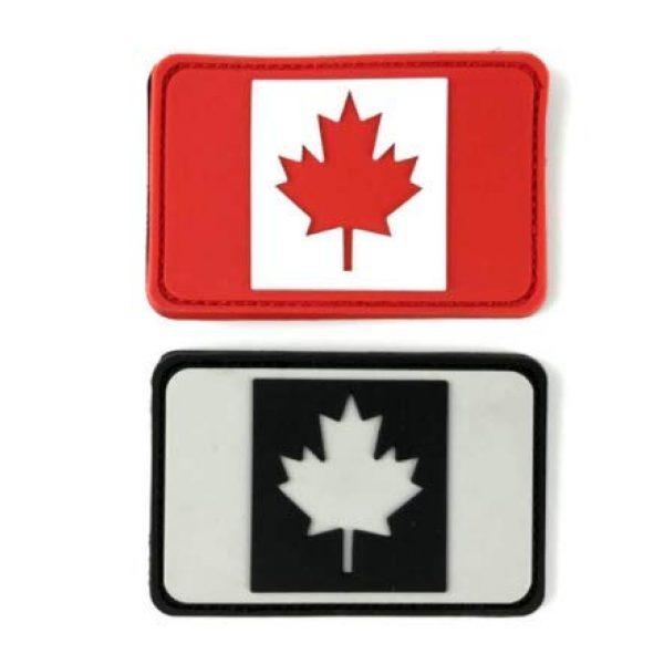 Tactical PVC Patch Airsoft Morale Patch 1 2pcs Canada Flag PVC Military Tactical Morale Patch Badges Emblem Applique Hook Patches for Clothes Backpack Accessories