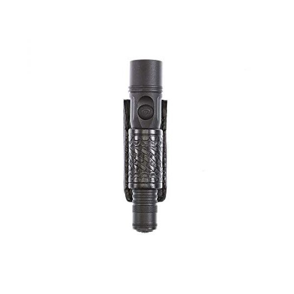 Aker Leather Tactical Pouch 1 Aker Leather Products Flashlight Holder 654 Flashlight Holder, Basketweave, Streamlight Strion LED and Ds Led, Black